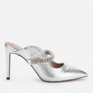 Kurt Geiger London Women's Duke Leather Heeled Mules - Silver