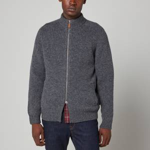 Barbour Men's Calder Knitted Zip Through Jacket - Charcoal Marl