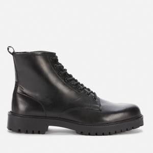 Walk London Men's Cole Leather Lace Up Boots - Black