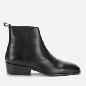 Walk London Men's Alex Leather Cuban Heeled Boots - Black