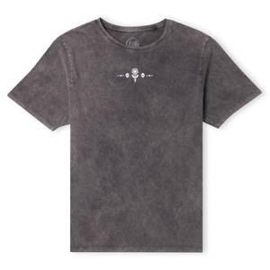Cruella Flower And Skulls Unisex T-Shirt - Black Acid Wash