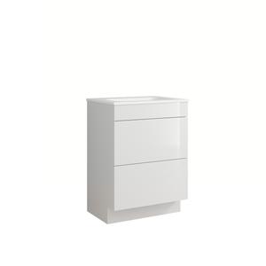 House Beautiful Ele-ment(s)  Gloss White 600mm Floorstanding Vanity with Basin