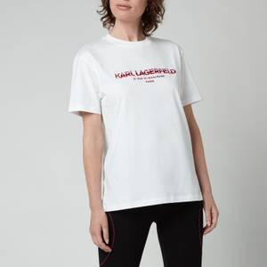 KARL LAGERFELD Women's Rsg Address Logo T-Shirt - White