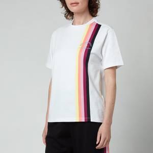 KARL LAGERFELD Women's Stripe Tape T-Shirt - White