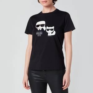 KARL LAGERFELD Women's Organic Ikonik Karl & Choupette T-Shirt - Black