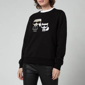 KARL LAGERFELD Women's Organic Ikonik Karl & Choupette Sweatshirt - Black