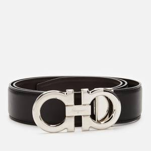 Salvatore Ferragamo Men's Reversible And Adjustable Gancini Belt - Black/Hickory