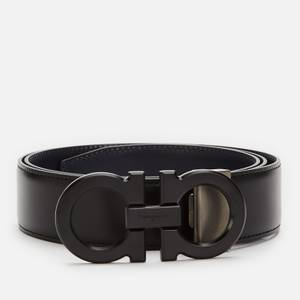 Salvatore Ferragamo Men's Reversible And Adjustable Gancini Belt - Black/Blue Marine