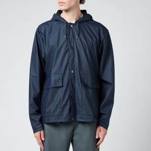 Rains Short Hooded Coat - Blue