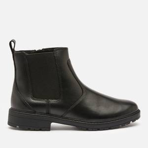 Clarks Loxham High Youth School Boots - Black Leather