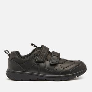 Clarks Scooter Run Kids' School Shoes - Black Leather