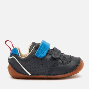 Clarks Tiny Sky Toddler Everyday Shoes - Navy Leather