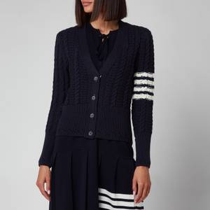 Thom Browne Women's Cable Classic Fit V Neck Cardigan With Stripes - Navy