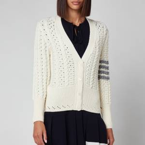 Thom Browne Women's Cable Classic Fit V Neck Cardigan With Stripes - White
