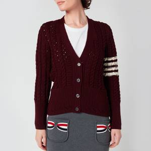 Thom Browne Women's Cable Classic Fit V Neck Cardigan With Stripes - Burgundy