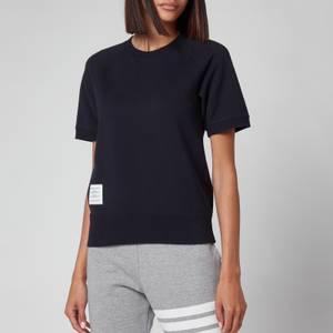 Thom Browne Women's Short Sleeve Sweatshirt Top In Cotton Loopback - Navy