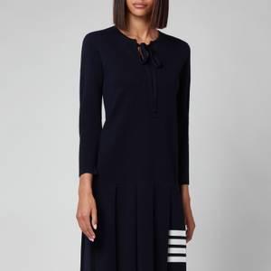 Thom Browne Women's Milano Stretch Pleated Bottom 3/4 Sleeve Dress - Navy