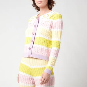 Olivia Rubin Women's Rupi Cable Knit Cardigan With Cotton Collar - Angel Cake Stripe