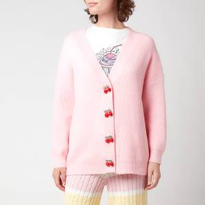 Olivia Rubin Women's Frankie Ribbed Cardigan With Diamante Cherry Buttons - Pink