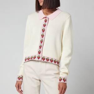 Olivia Rubin Women's Bettina Collared Cardigan With Strawberry Jacquard Trim - Cream