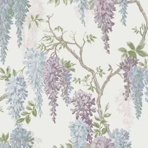 Laura Ashley Wisteria Garden Pale Iris Wallpaper