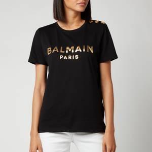 Balmain Women's Short Sleeve 3 Button Metallic Logo T-Shirt - Noir/Or