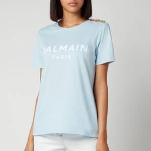 Balmain Women's Short Sleeve 3 Button Flocked Logo T-Shirt - Bleu Pale/Blanc