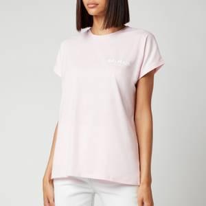 Balmain Women's Flocked Logo T-Shirt - Rose Pale/Blanc