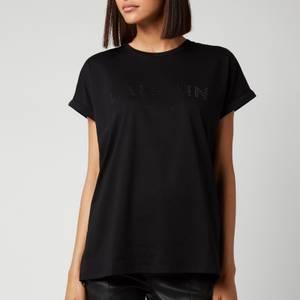 Balmain Women's Short Sleeve Strass Logo T-Shirt - Noir/Noir
