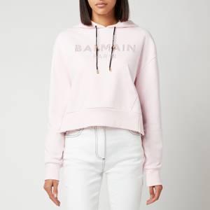 Balmain Women's Cropped Strass Logo Hoodie - Rose Pale