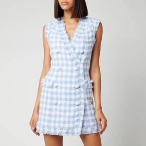 Balmain Women's Sleevless 8 Button Gingham Tweed Dress - Blanc/Bleu