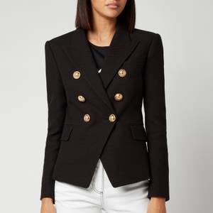 Balmain Women's 6 Button Cotton Pique Jacket - Black