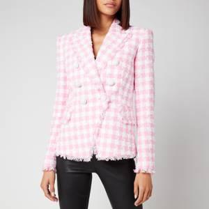 Balmain Women's 6 Button Gingham Tweed Jacket - Blanc/Rose Pale