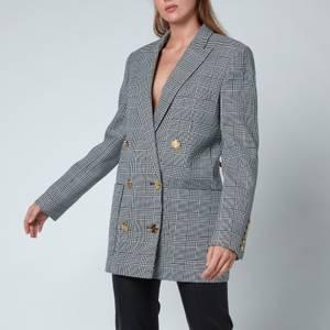 Balmain Women's 6 Button Checked Boyfriend Jacket - Blanc/Noir