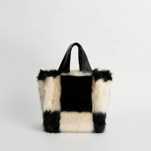 Stand Studio Women's Lucille Faux Fur Check Bag - Black/White
