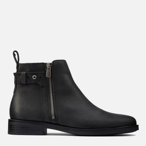 Clarks Women's Memi Lo Leather Flat Ankle Boots - Black