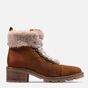 Clarks Women's Roseleigh Sky Suede Heeled Hiking Style Boots - Dark Tan