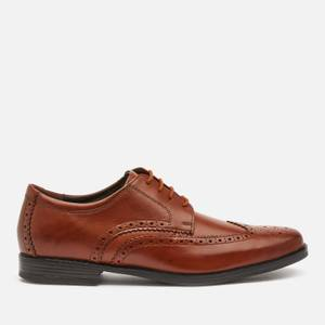 Clarks Men's Howard Wing Leather Derby Shoes - Dark Tan