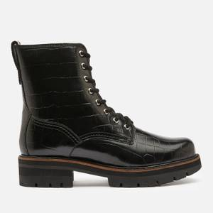 Clarks Women's Orianna Hi Croc Lace Up Boots - Black