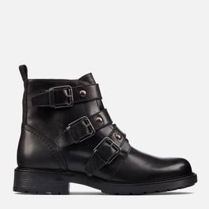 Clarks Women's Orinoco 2 Stud Leather Biker Boots - Black