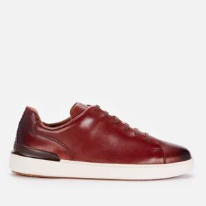 Clarks Men's Courtlite Lace Leather Cupsole Trainers - Dark Tan