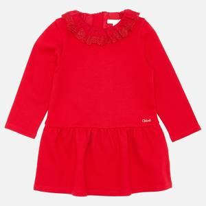 Chloé Girls' Frill Collar Dress - Crimson