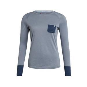 Women's Explorer Tech Tee Long Sleeve Crew - Grey / Blue