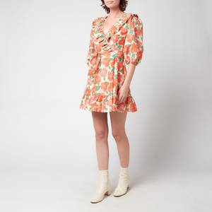 RIXO Women's Lennon Dress - Medium Floral Coral Green