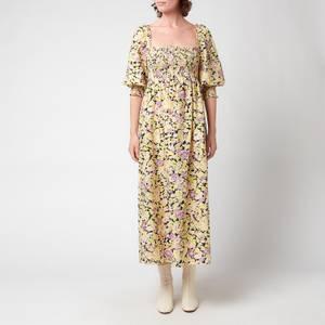 RIXO Women's Saskia Midi Dress - Medium Floral Coral Green Leopard Mix