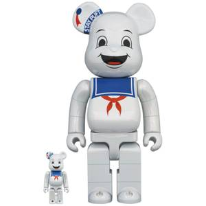 Medicom Ghostbusters White Chrome Stay-Puft Marshmallow Man 100% X 400% Be@rbrick 2 Pack