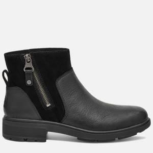 UGG Women's Harrison Zip Waterproof Leather Ankle Boots - Black