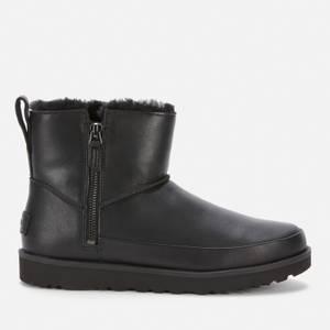 UGG Women's Classic Zip Mini Waterproof Leather Boots - Black