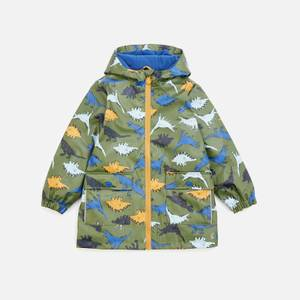 Joules Boys' Skipper Dino Print Raincoat - Green