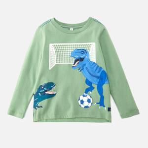Joules Boys' Zipadee Green Football Dinos T-Shirt - Green